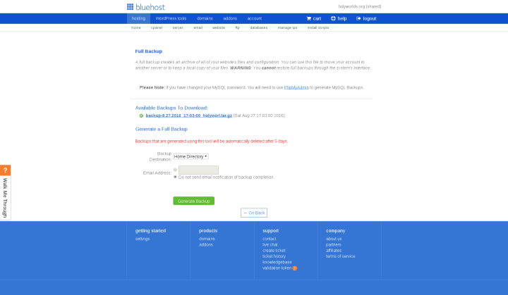 Bluehost Backup