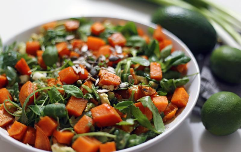 Warm Sweet Potato Rocket And Avocado Salad With Tahini Dressing