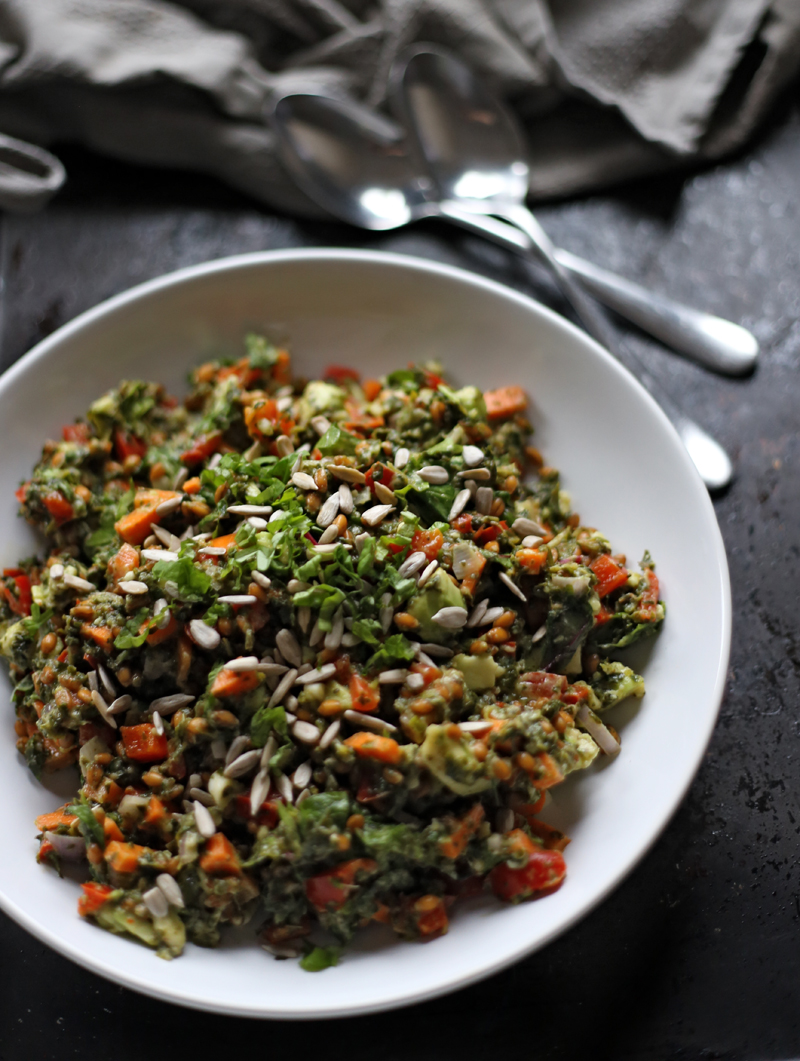 spelt salad with creamy spinach green evi