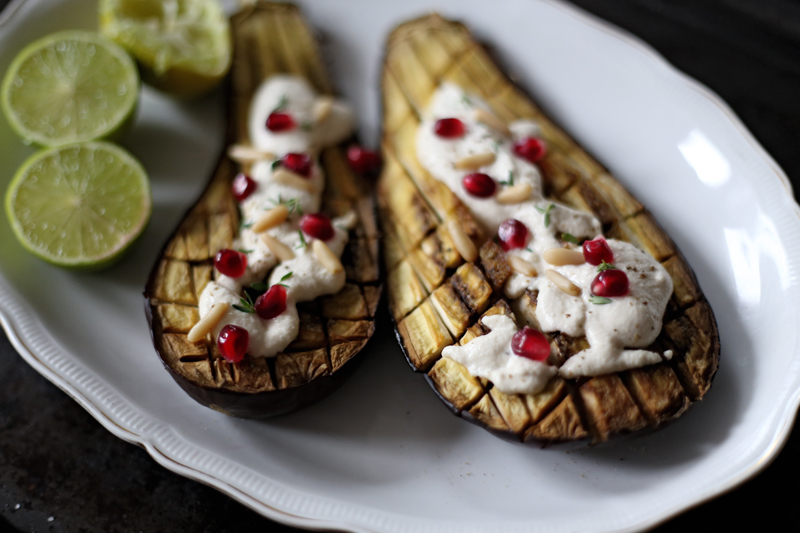 Roasted Aubergine with Tahini and Cashew Sauce