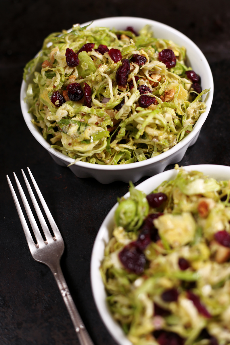 Brussels Sprout Salad with Cranberries and Walnut