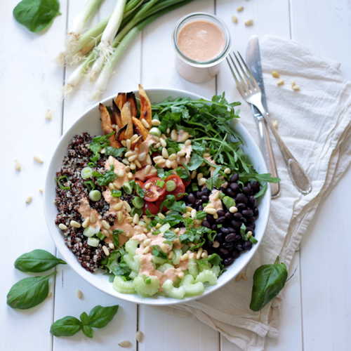 Quinoa Bowl with Tahini and Sun-Dried Tomato Dressing