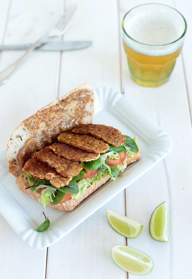 Avocado and Maple Glazed Tempeh Sandwich