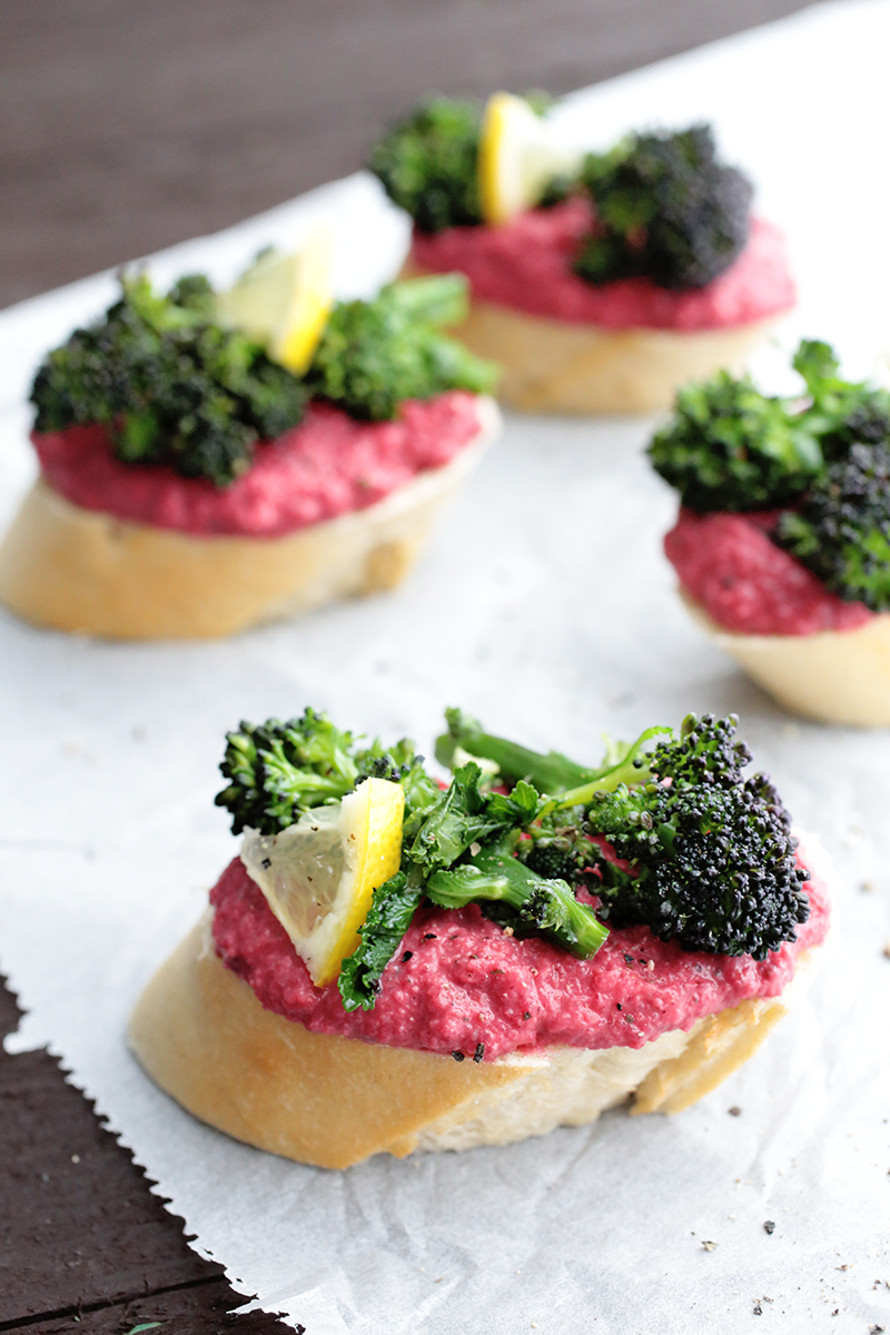 Beetroot Hummus and Broccolini Baguette Slices