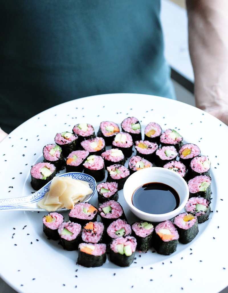 How to Make Vegan Pink Sushi