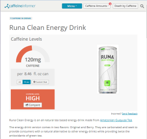 Caffeine Informer Runa Clean Energy