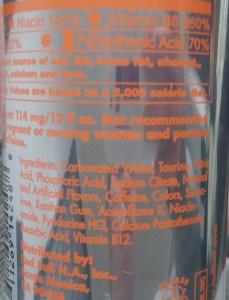 Red Bull Total Zero Orange Edition Ingredient Line