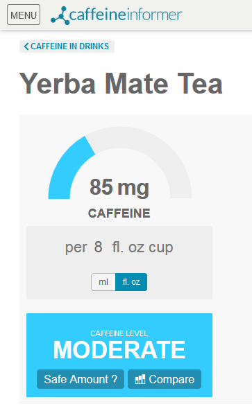 Caffeine Informer Mate Tea