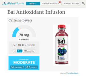 Caffeine Informer Bai Antioxidant Infusion caffeine content