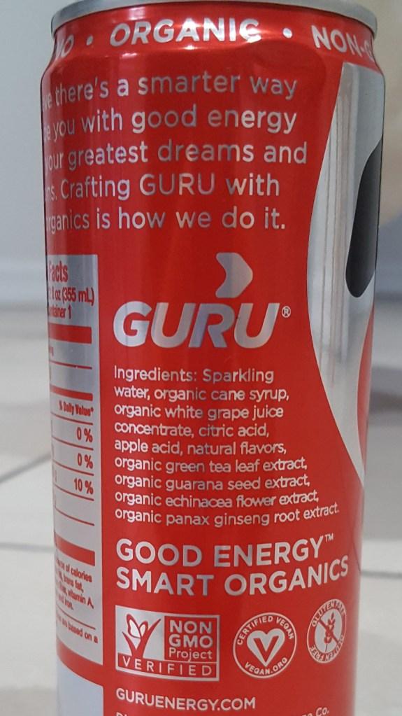 Guru Organic Energy ingredients