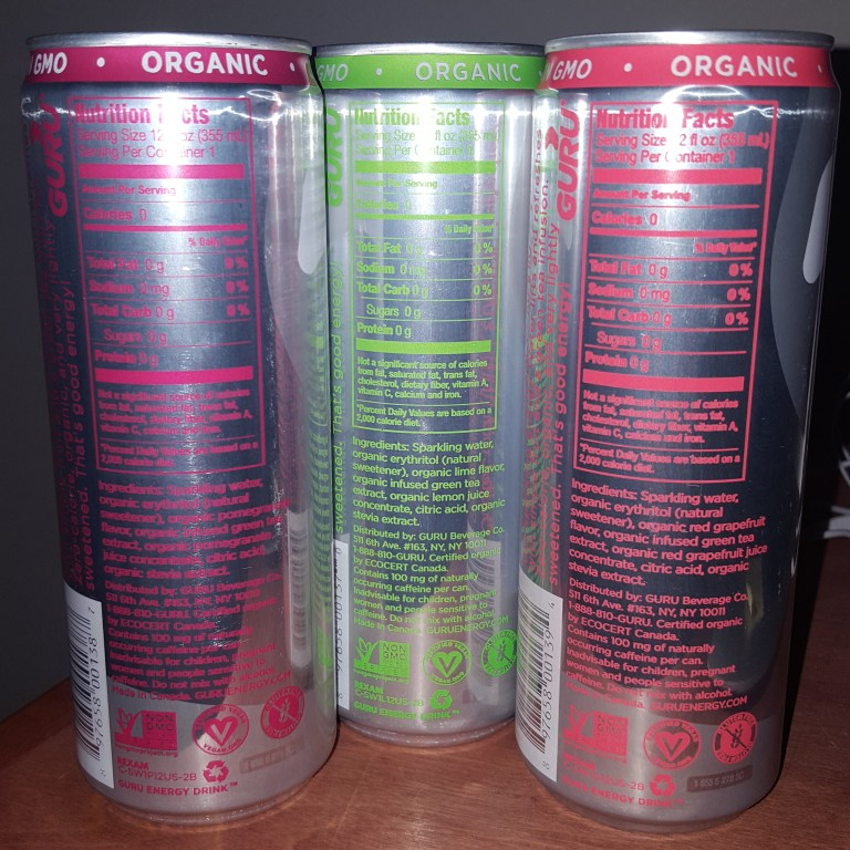 Nutrition Facts for Guru Energy Water