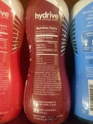 Hydrive Energy Water nutrition facts - greeneyedguide.com