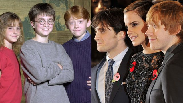 harry potter trio young and old