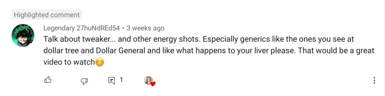 Question about caffeine energy drinks liver from YouTube user