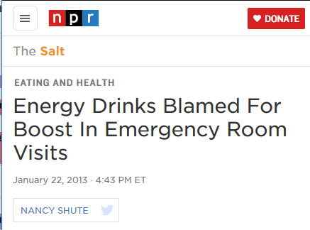 NPR headline energy drink ER visits