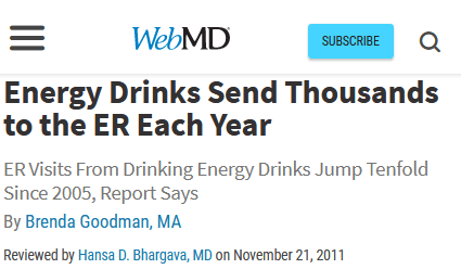 webmd headline energy drink er visits