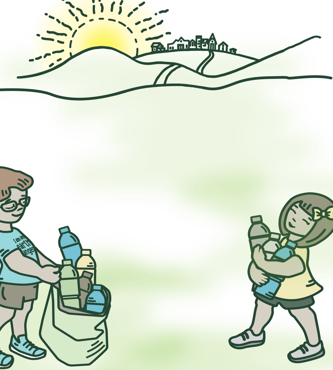 boy and girl picking up bottles for recycling