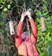 tying the camera to the birdfeeder