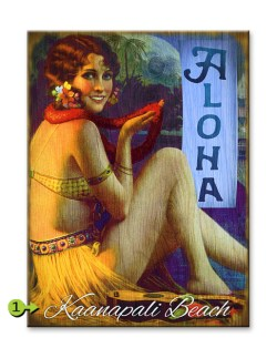Aloha Hula Girl wood sign 17x23