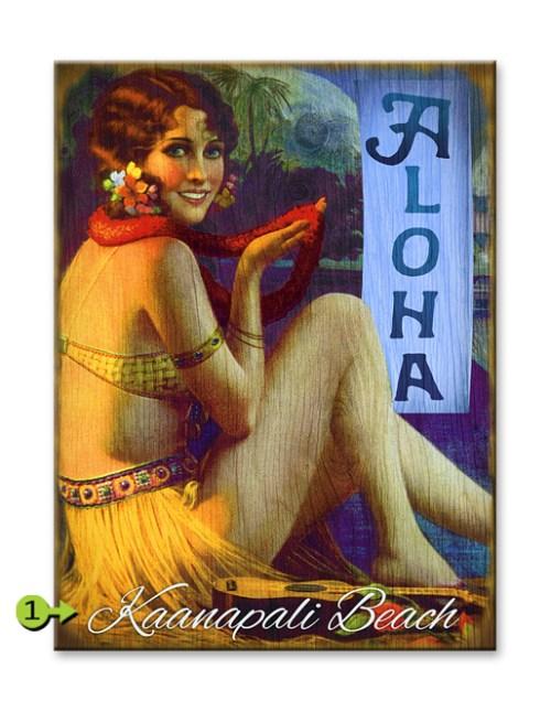 Aloha Hula Girl wood sign 17x23