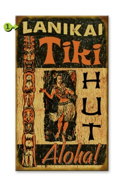 Aloha Tiki Hut 14x23 wood sign