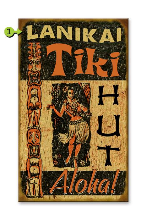Aloha Tiki Hut 14x23 wood sign