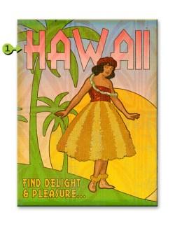 delight and pleasure hula girl wood sign 17x23