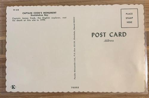 Captain Cook Monument postcard - back