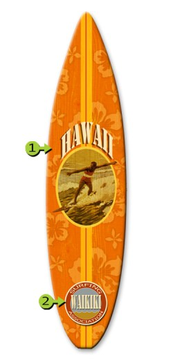 surf association surfboard wood sign 12x44 waikiki