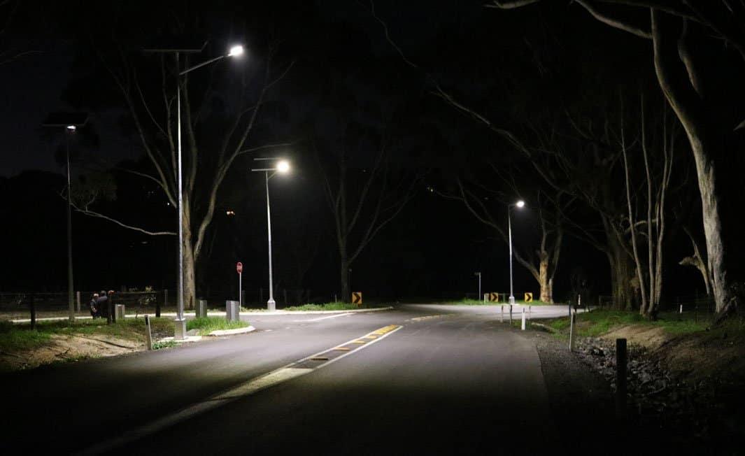 solar powered street lighting of black spot intersection