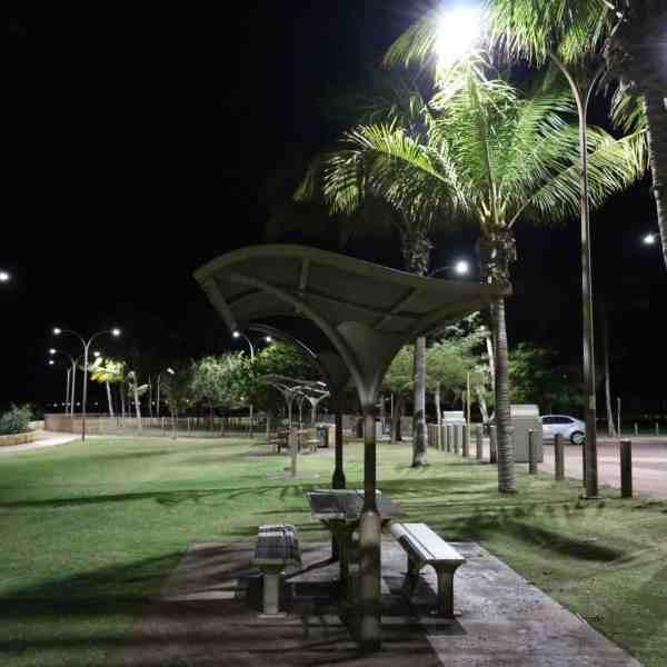 street lights in car park