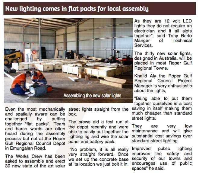 solar street lighting article Roper Gulf