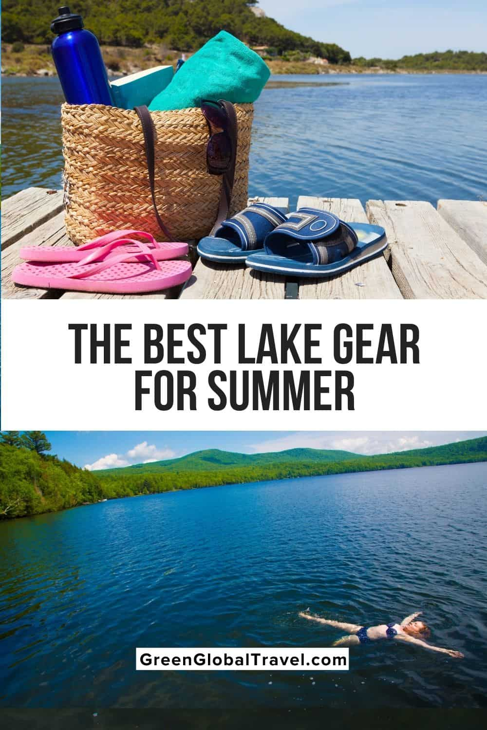 The Best Lake Day Gear & Accessories for Your Summer Outing includes Swimwear, Clothing, Floats, Sunglasses, Shoes, Camping/Cooking Gear, and Tech