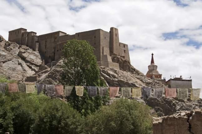 Leh monastery and flags
