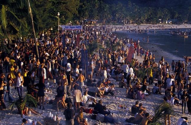 Thailand's Haad Rin Beach in 2005, photo via Gringo Trails