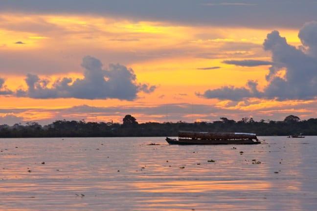 Sunset on the Amazon River, Peru