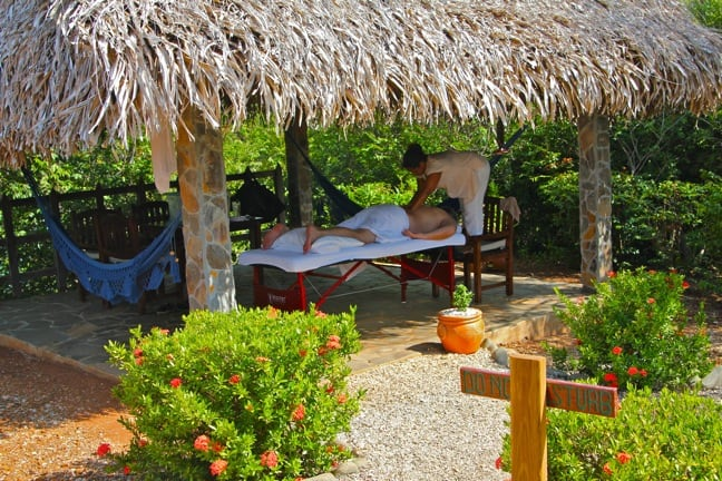 Massage in our Palapa at Islas Secas, Panama
