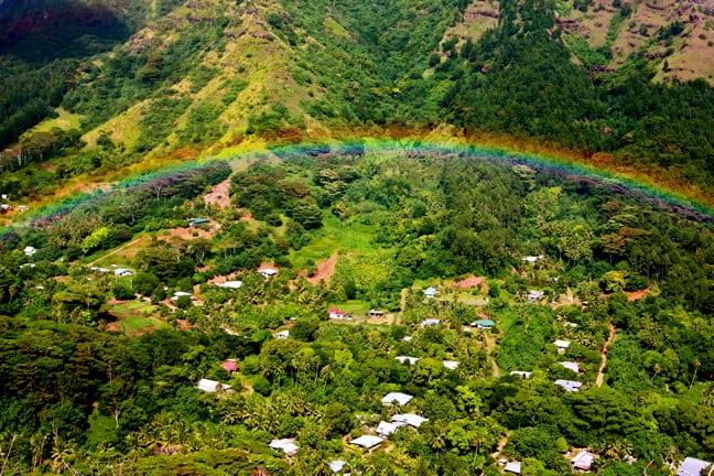 A Rainbow over the valley in Moorea, Tahiti