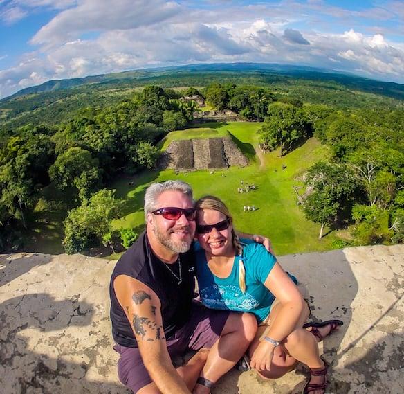 Bret Love & Mary Gabbett of Green Global Travel at Xunantunich, Belize