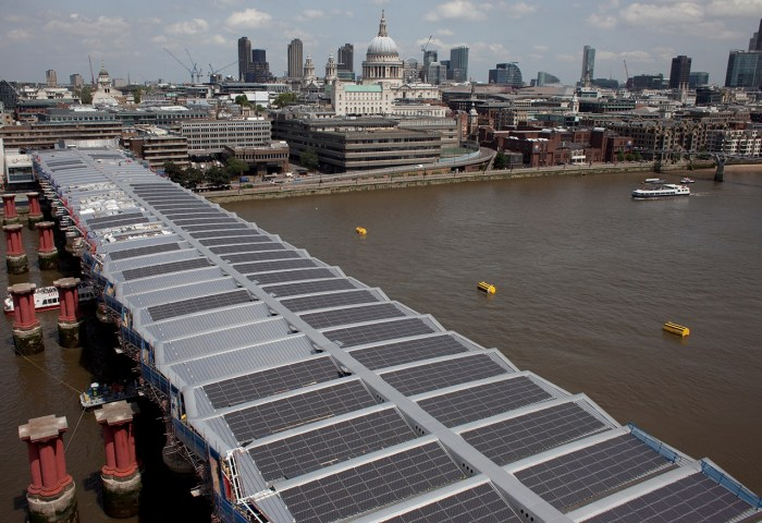 Solar panels on the roof of Blackfriars Station in London.