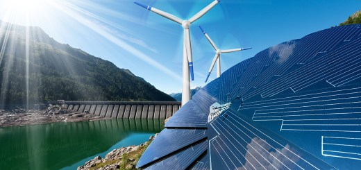 Renewable Energy - Sunlight with solar panel. Wind with wind turbines. Rain with dam for hydropower. Image by Alberto Masnovo/Shutterstock