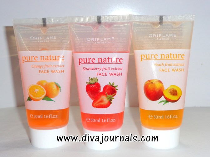 oriflame pure nature orange-strawberry-peach fruit extract face wash