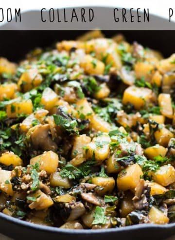 Mushroom Collard Green Potatoes in a black pan.