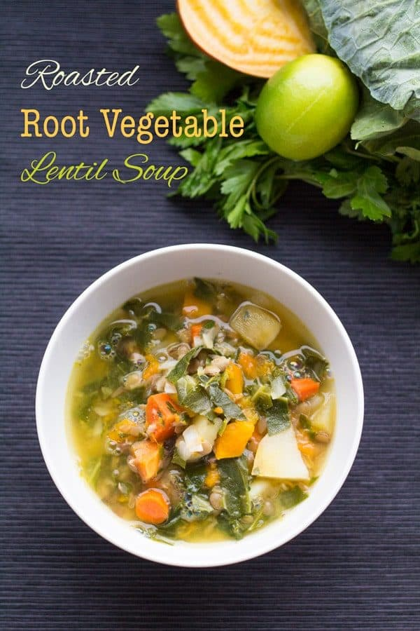Roasted Root Vegetable Lentil Soup
