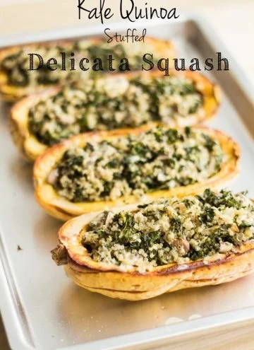Vegetarian Stuffed Delicata Squash on a baking tray with text overlay.