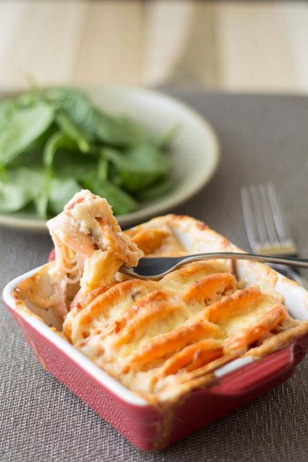 Sweet Potato Leek Salmon Gratin in a red baking dish and a close up of a fork showing a bite.