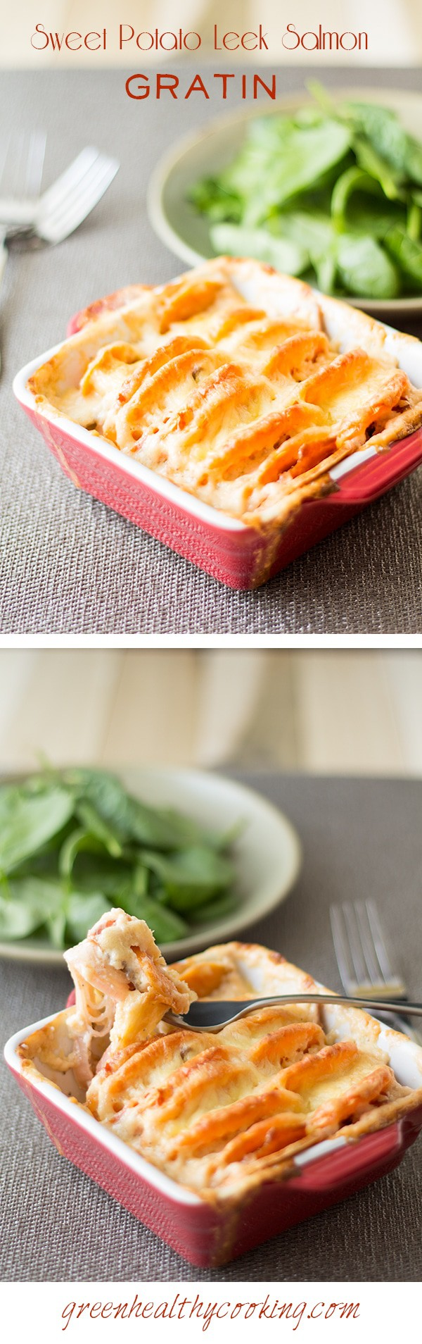 Collage of Sweet Potato Leek Salmon Gratin images with text overlay for Pinterest.