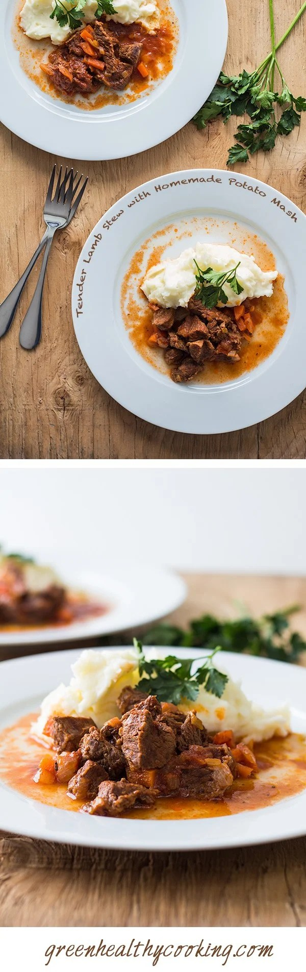 Collage of Tender Lamb Stew with Homemade Potato Mash images with text overlay for Pinterest.