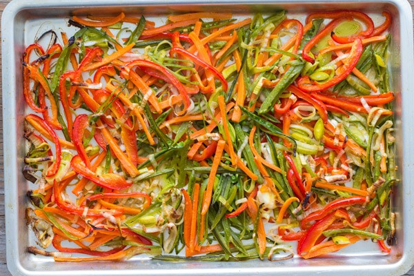 Garlic Butter Roasted Vegetables on a sheet pan.