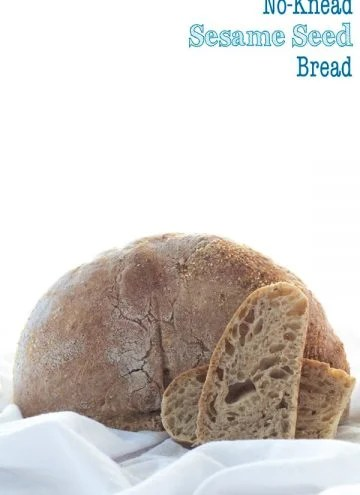 No-Knead Sesame Seed Bread with text overlay.